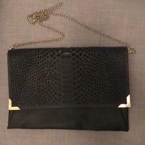 H&M black envelope clutch w/ removable chain strap